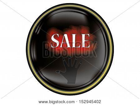 Inscription  sale of black background, banner sale, hand 3d