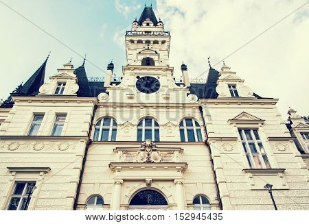 Beautiful Budmerice castle in Slovak republic. Architectural theme. Cultural heritage. Blue photo filter. Beautiful place. Travel destination.