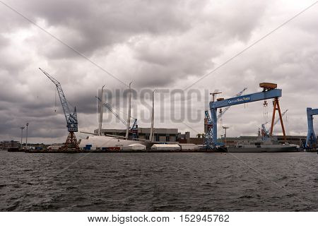 Kiel, Germany - Okt 3, 2016: View Of The Port Of Kiel In Germany