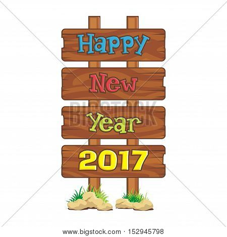 Wooden signboard with Happy New Year 2017 text