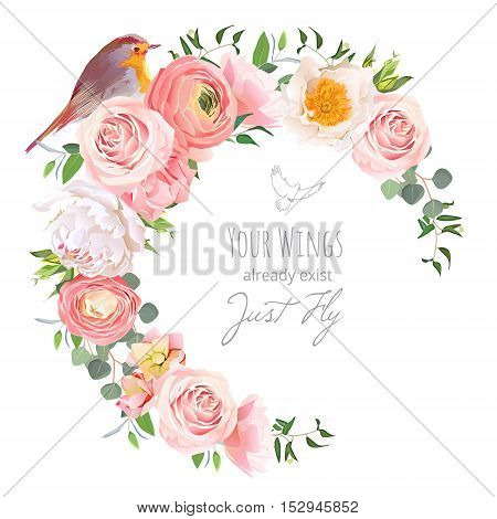 Cute floral vector round frame with ranunculus peony rose green plants and small bird on white. Peachy white and yellow flowers. Crescent shape bouquet. All elements are isolated and editable.