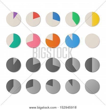 Set of color pie circle diagrams, vector icons