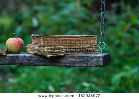 Old books on swing in autumnal garden