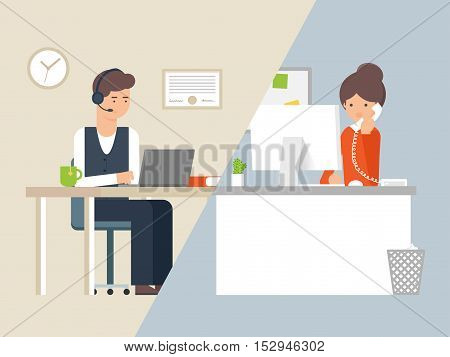Vector illustration call centre operator and customer, support service