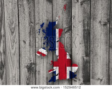 Map And Flag Of Great Britain On Wood,