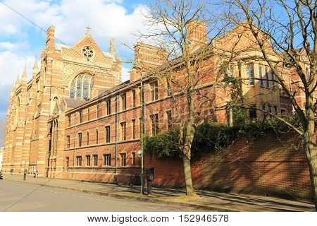 Keble College, Oxford, United kingdom. Photo taken from a public access sidewalk