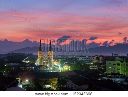 Catholic Church during sunrise Chanthaburi province thailand .