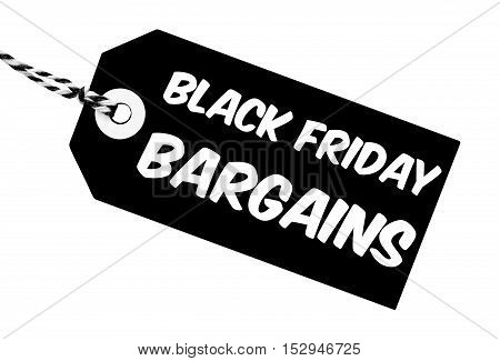Black Friday Bargains label 3D illustration made from cardboard with string on an isolated white background