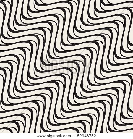 Vector Seamless Black and White Hand Drawn Wavy Lines Pattern. Abstract Freehand Background Design