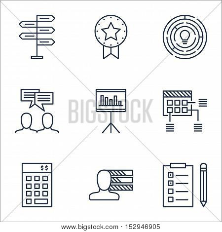 Set Of Project Management Icons On Innovation, Opportunity And Personal Skills Topics. Editable Vect
