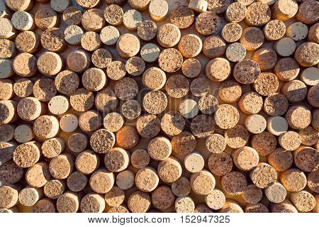 Shadow on the backgrounds of of wine corks. Texture of cork.