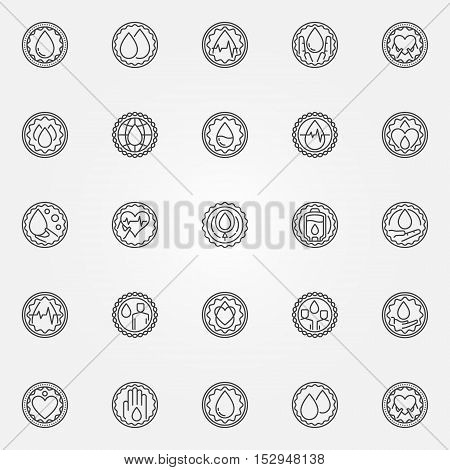 Blood donation badge set. Vector outline collection of round donate blood labels. Blood donor concept symbols in thin line style