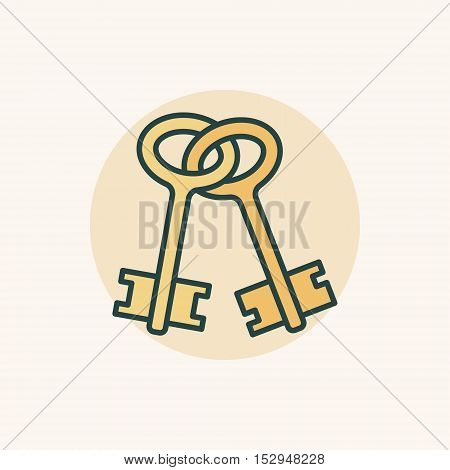 Old keys colorful icon. Vector creative bunch of keys yellow symbol or sign