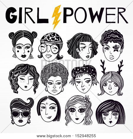 Doodle style set of diverse female faces. Girls and women in comic style. Trendy isolated vector art.