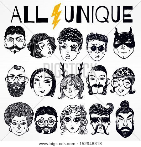 Set of diverse people faces from different cultural and ethnic backgrounds. Trendy print. Each person portrait is unique. Isolated vector illustration.