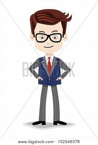 Stylish Cartoon businessman on a blue background, glasses, tie, jacket, black shoes, casual stile