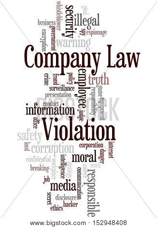 Company Law Violation, Word Cloud Concept