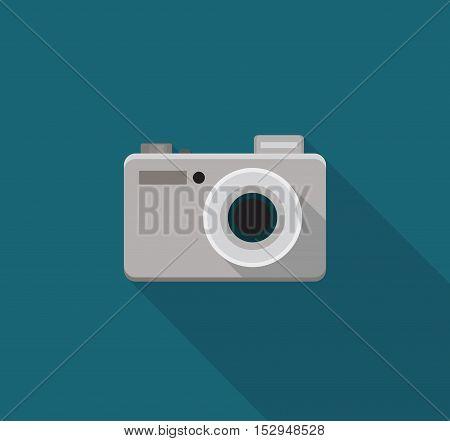 Digital photo camera flat icon. Vector illustration