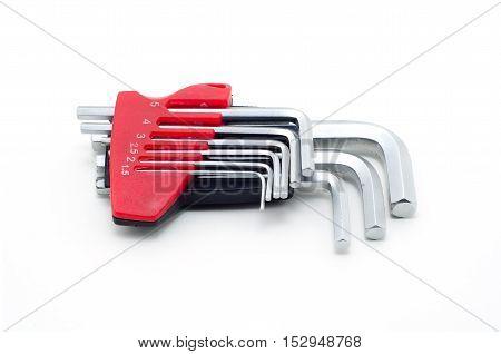 Hex key set one-pack on white background.