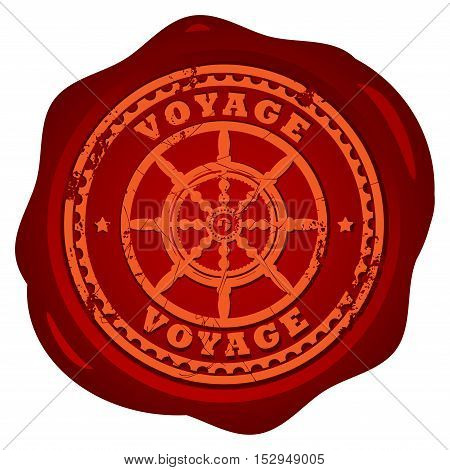 Wax seal with steering wheel and the text Voyage written inside the stamp, vector illustration