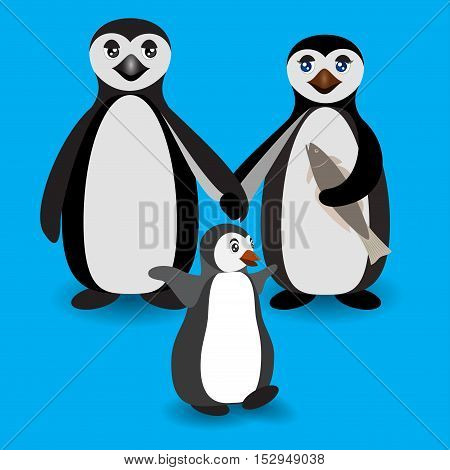 Penguin family. Love feeling. Boyfriend and Girlfriend Penguins. Antarctic birds standing and holding hands. Vector flat illustration.