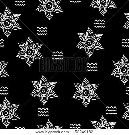 Abstract flower seamless on the black background. Vector pattern for banner card invitation textile fabric wrapping paper.
