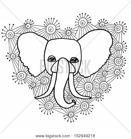 Black line head of elephant in the abstract ornament for doodle coloring page. Vector illustration isolated on white background.