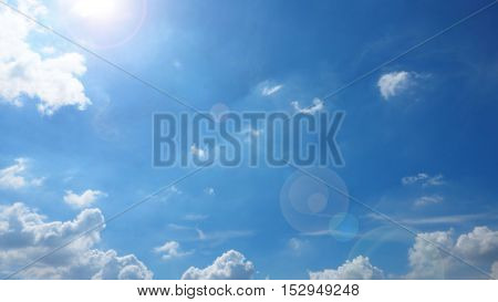 Sunshine have len flare Sky Blue and abstract cloud bright white color nature landscape background.