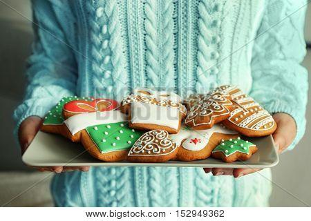Woman holding tray with tasty gingerbread cookies, close up view