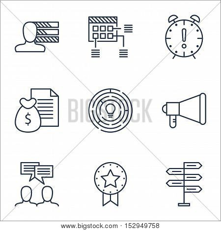 Set Of Project Management Icons On Innovation, Discussion And Report Topics. Editable Vector Illustr