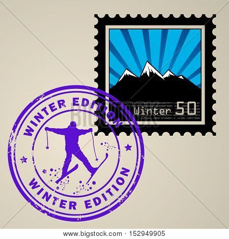 Postage stamp with Winter mountain and postmark with text Winter edition, vector illustration