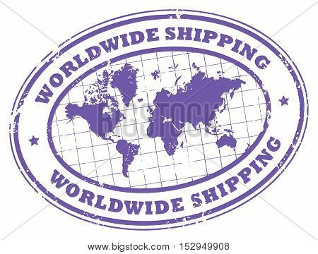 Grunge rubber stamp with a world map and the text worldwide shipping written inside the stamp, vector illustration