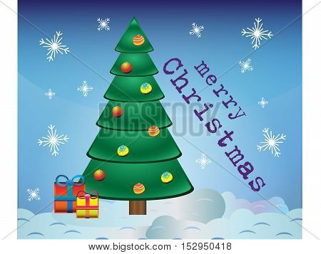 postcard merry Christmas with tree, gifts and snowflakes