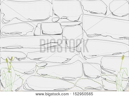 Drawing style stone wall as a background image