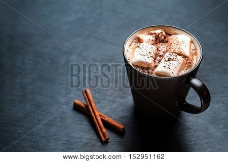 Cup of hot cocoa with marshmallows macro