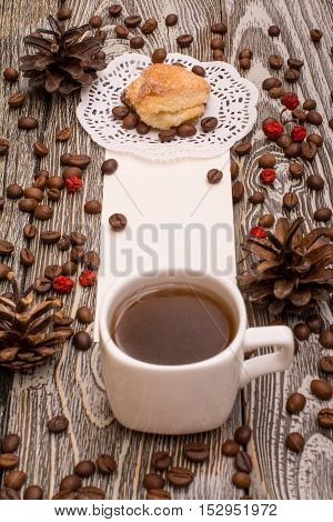 Cup Of Coffee, Cookies, Beans On Wooden Background. Template