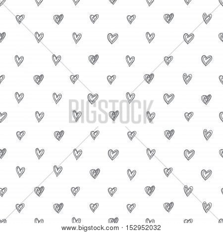 Simple seamless vector pattern of abstract hand-drawn hearts on a white background. Funky stylish black and white print.