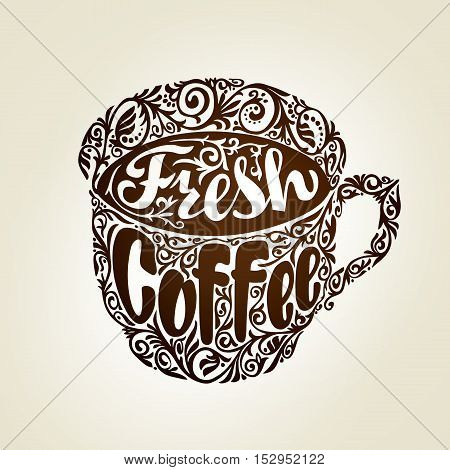 Fresh Coffee. Cup with decorative pattern. Vector illustration