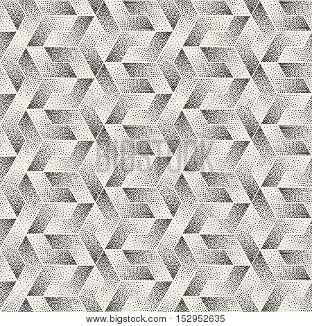 Vector Seamless Black and White Stippling Shapes Pattern. Abstract Geometric Background Design