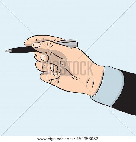 Man's hand in suit holding metal pen