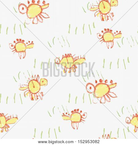 Seamless ornament. The basis of the ornament abstract dinosaur in the grass stylized children's drawing. Vector illustration.