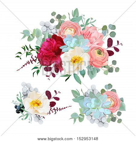 Seasonal mixed bouquets of peony ranunculus succulents wild rose carnation brunia blackberries and eucaliptus leaves vector design set. All elements are isolated and editable.