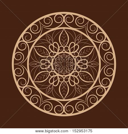 Vector coffee color flower mandala over dark brown. Invitation element. Tattoo, astrology, alchemy, boho and magic symbol for your projects