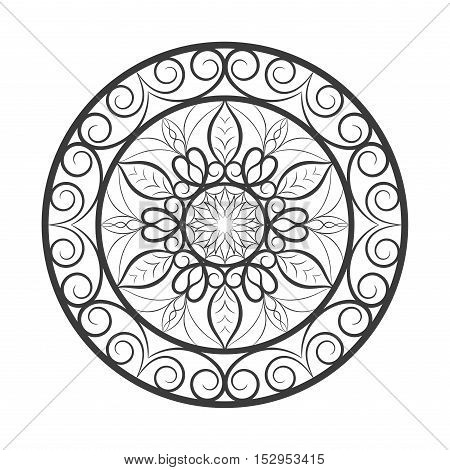 Vector black color flower mandala over white. Invitation element. Tattoo, astrology, alchemy, boho and magic symbol for your projects. Element for anti stress coloring book.