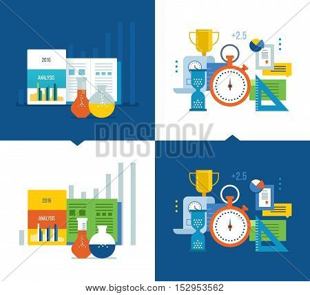 Concept illustration - analysis and strategy studies and the acquisition of knowledge, strategy planning, project management and time management. Vector illustrations light and dark background.