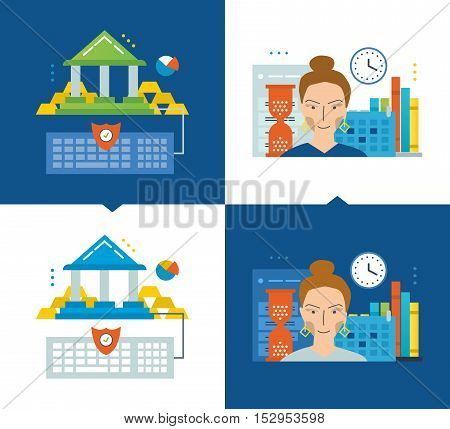 Concept of illustration - online banking, modern education, schedule and workflow. Vector illustrations are shown on a light and dark background. Can be used in the form of brochures, flyers.
