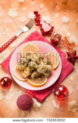 fried brussel sprout over christmas table