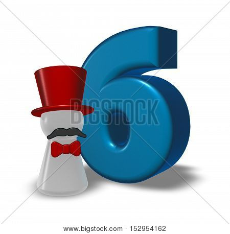 number six and pawn with hat and beard - 3d rendering