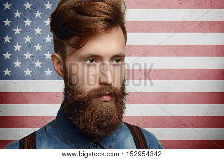 People, Citizenship And Patriotism Concept. Headshot Of Serious American Patriot With Thick Beard An