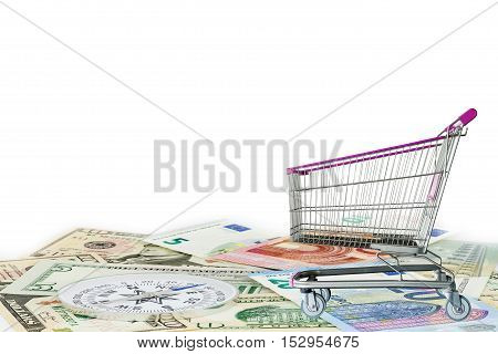 Shopping Cart on money background business concept